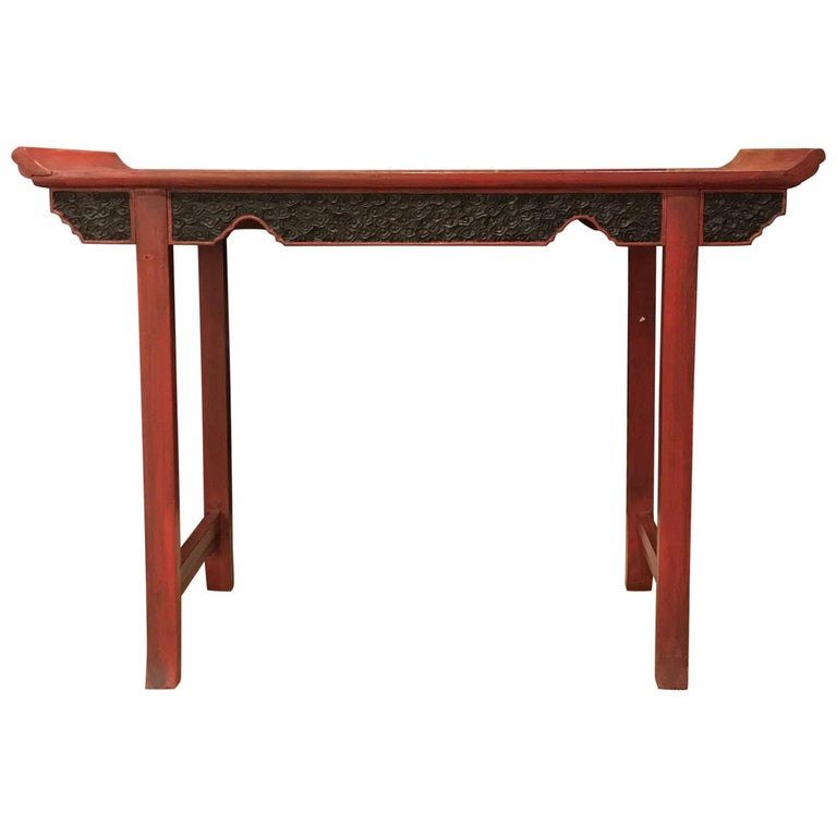 Pair of Vintage Red Lacquer Consoles For Sale