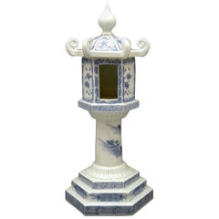 Fine Japanese Antique Candleholder Censer Blue & White Hand Painted 19th Century