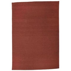 Flat-Woven Dhurrie Solid Curry Brick Red Maroon Wool Rug
