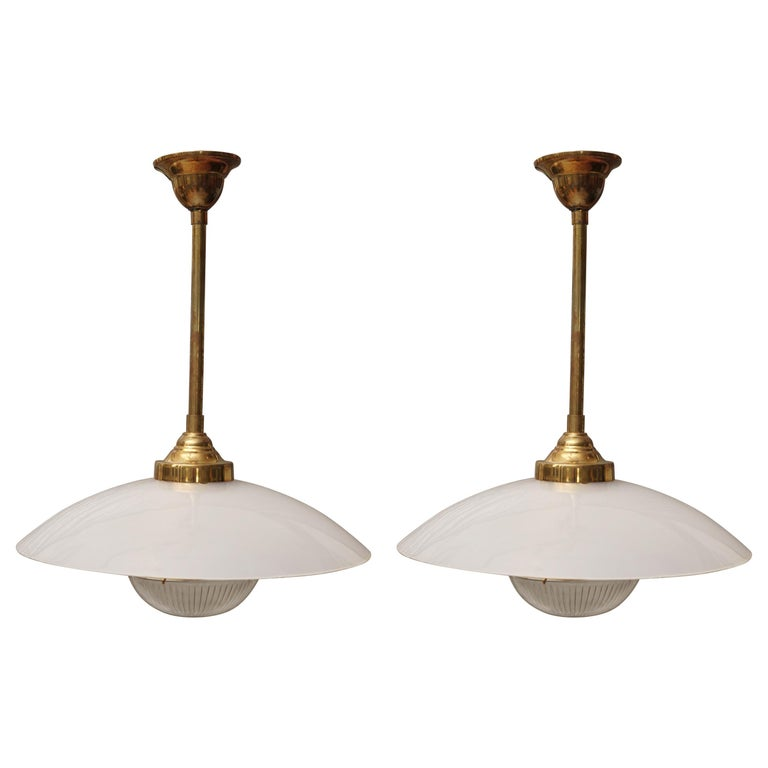 Midcentury Pair of Lucite, Brass and Glass Pendant Lights For Sale