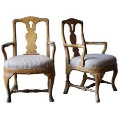 Pair of 18th Century Swedish Roccoco Armchairs