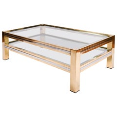 1960s Italian Rectangular Brass and Chrome Coffee Table