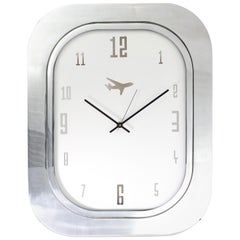 #003-Boeing 747 Window Clock, Polished Aluminium and White Face