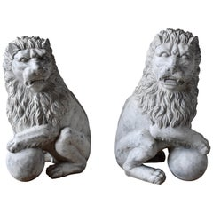 Pair of Hand Carved Solid Wooden Lions with Paw on Ball 20th Century