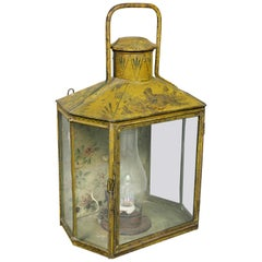 French Charles X Yellow Painted Tole Wall Lantern