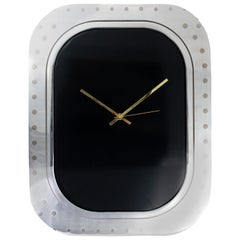 #005-Boeing 747 Window Clock, Polished Aluminium and Black Face and No Numbers