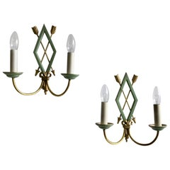 French Greened Toleware Wall Lights