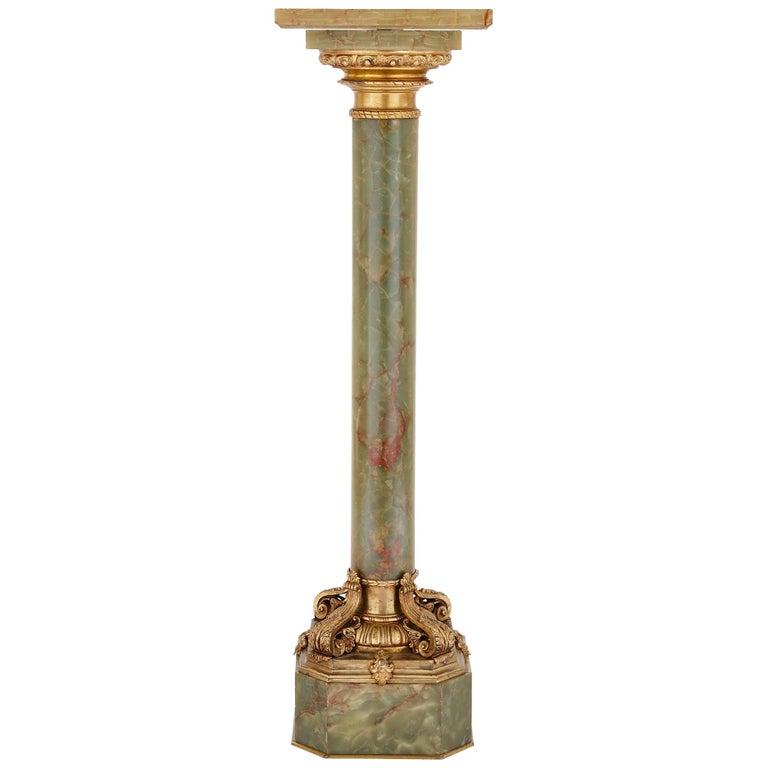 Green Onyx and Gilt Bronze Columnar Pedestal Stand