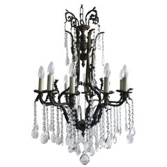 Early 20th Century Italian Ornate Birdcage Chandelier with Crystal Pear Drops