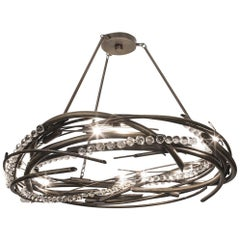 Orbit Chandelier, Contemporary Brass Ceiling Light in Antique Finish