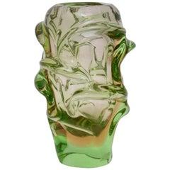 Green Glass Vase by Jan Beranek for Skrdlovice Czech Republic, 1960s
