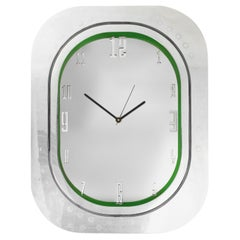 #006-Airbus A320 Window Clock, Polished Aluminium and Polished Face and Green