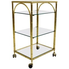 Mid-Century Modern Faux Bamboo Bar Cart by Maison Baguès Attributed, 1960s