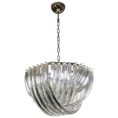 Contemporary Italian Minimalist Curved Crystal Murano Glass Chrome Chandelier