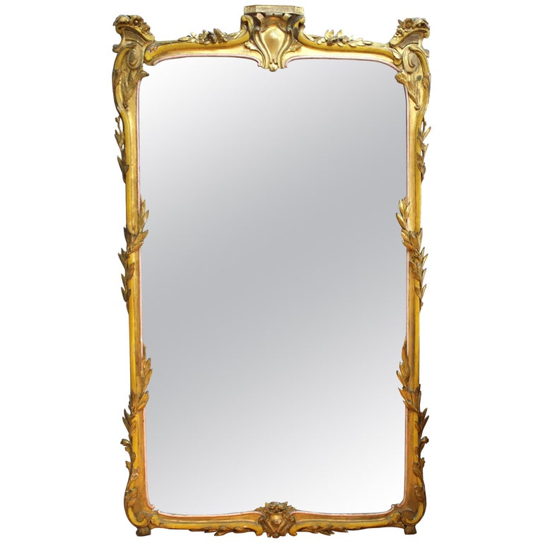 Baroque Style Monumental Carved Giltwood Mirror