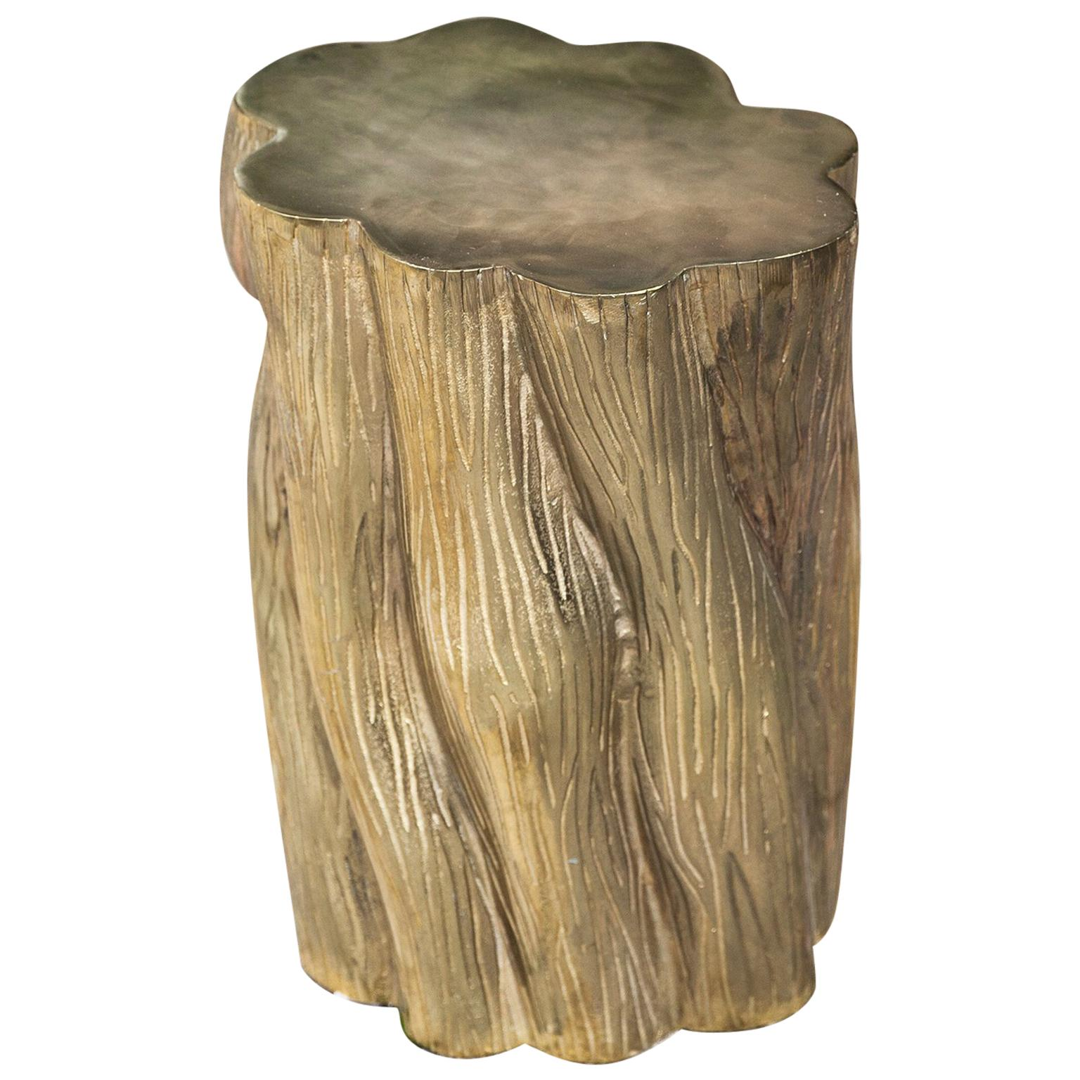 Brass Tree Stump Side Table