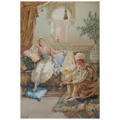 Italian Painter Amadeo Simonetti Orientalist Watercolor, 1900