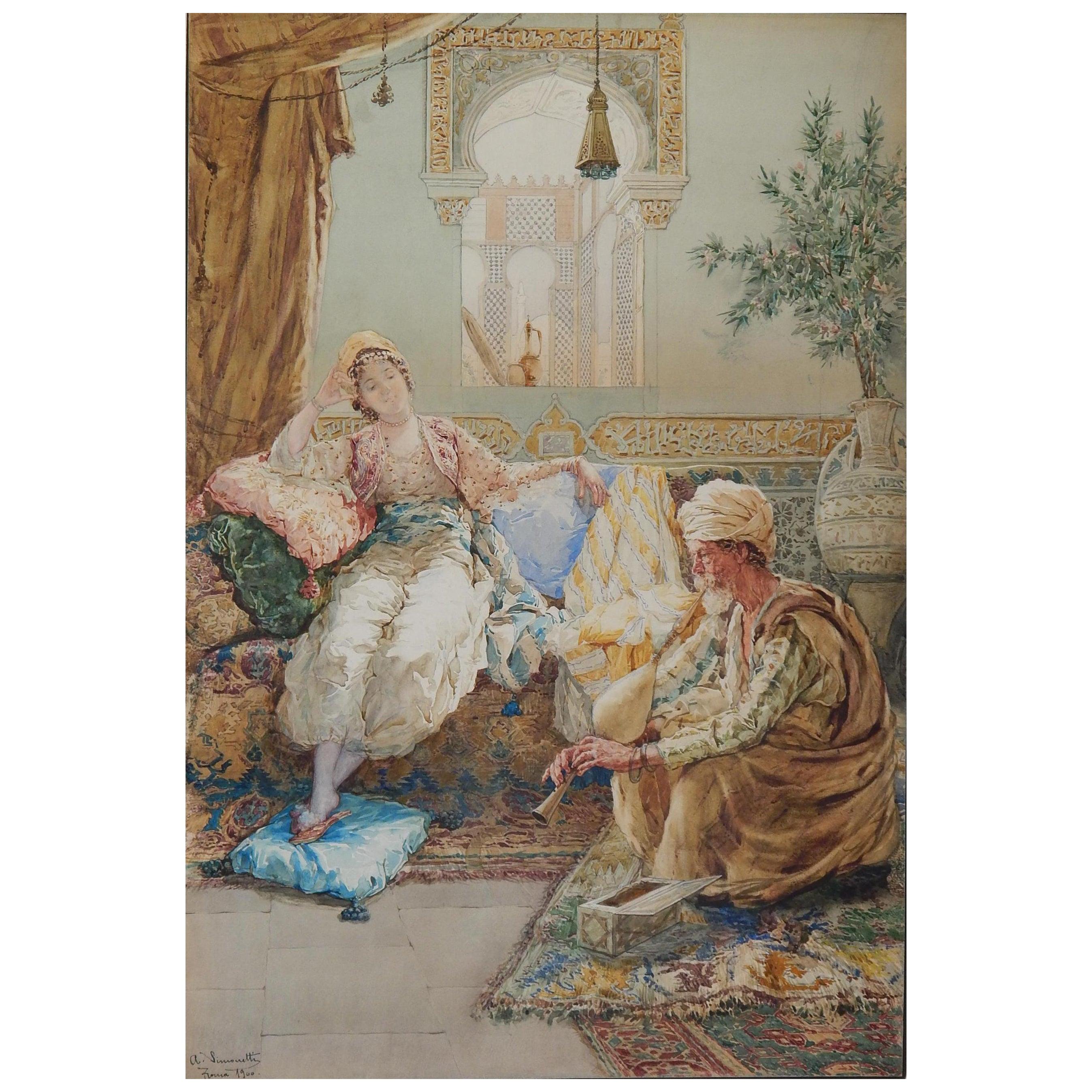 Italian Painter Amadeo Simonetti Orientalist Watercolor, 1900
