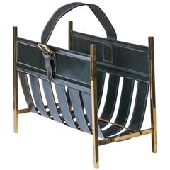 Magazine Rack Green Leather Attributed to Adnet