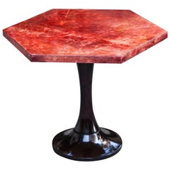 Aldo Tura Red Goatskin Side Table