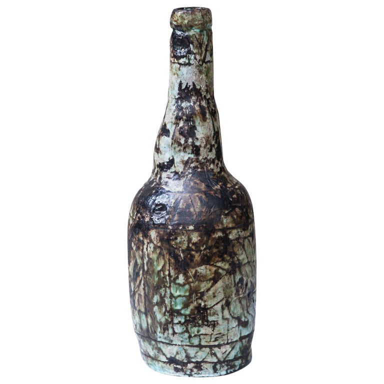 Huge Art Pottery Jerome Massier Vallauris Vase, 1960s For Sale