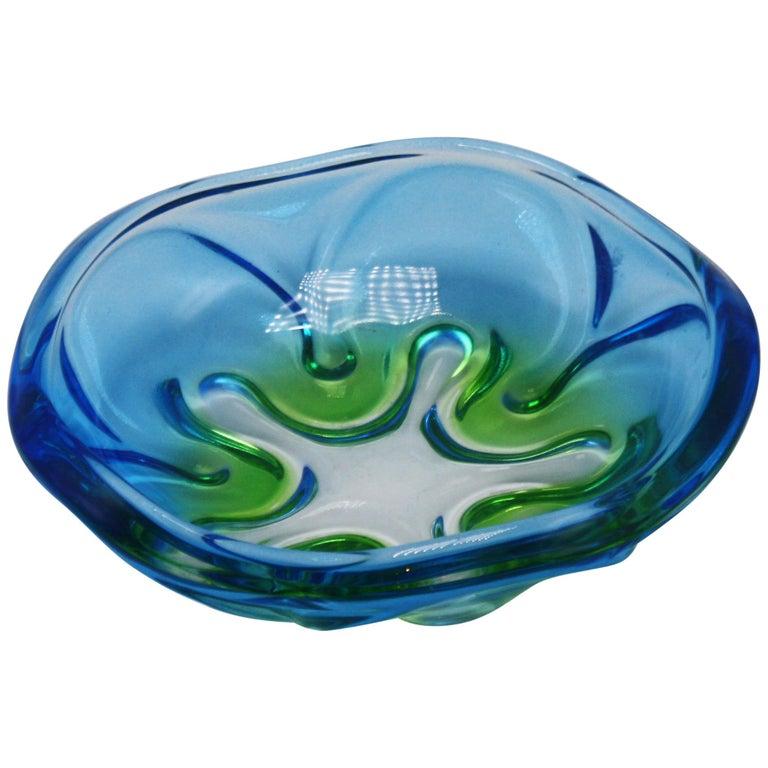 Blue and Green Murano Glass Bowl, circa 1970