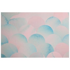 Finisterra Pacific Pink Wallpaper with Pink and Blue Geometric Scallop Patterns