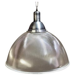 Large Vintage Industrial Prismatic Holophane Pendant Lights