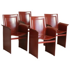 Set of Four 20th Century Tito Agnoli Model Korium Burgundy Leather Armchairs