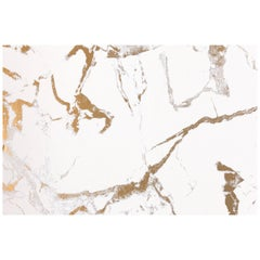 Levante Bianco Marble Wallpaper with Warm Bright White and Metallic Gold Colors