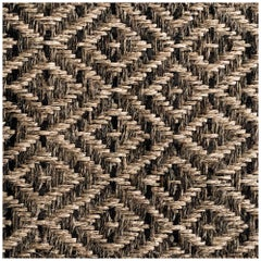 Colombian Crin Rugs, Handwoven Horsehair, Jute + Black Leather Diamond