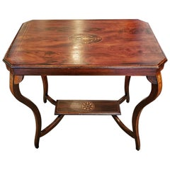 Edwardian British Mahogany and Marquetry Side Table
