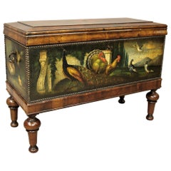 19th Century Dutch Walnut and Painted Leather Chest on Stand