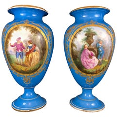 Large Pair of Sèvres Style Porcelain Urns, 19th Century, French, Blue