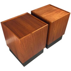Teak Cube Midcentury Side Tables in the Manner of Milo Baughman