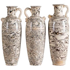 Three Marble Ware Handmade Modern Pottery Vases
