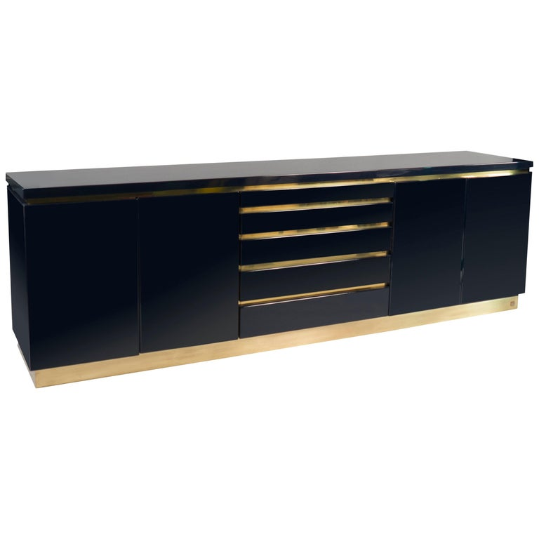 Dark Blue Lacquered Sideboard by Jean Claude Mahey, France, 1970s For Sale