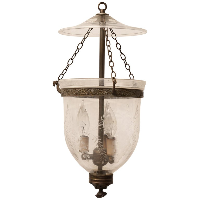 Hand Blown Etched Bell Jar Hall Lantern, Late 19th Century English For Sale
