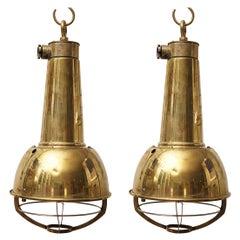 Pair of Brass Ship's Pendant Lights, 1980s