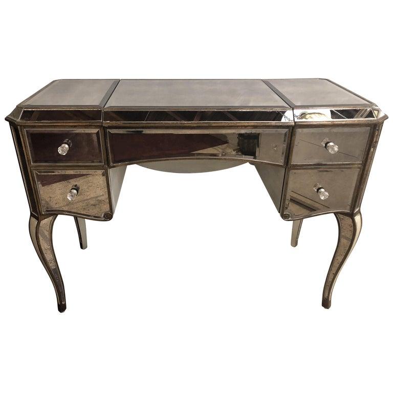 Hollywood Regency Style Mirror Flip Top Vanity Desk or Dressing Table
