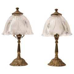 Pair of Petite Brass Table Lamps with Holophane Shades, Mid-1900s