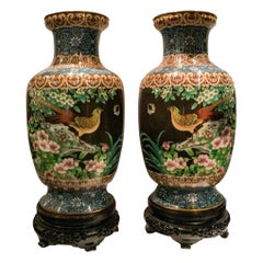 Pair of Large Chinese Cloisonne Enamel  Vases on Stand