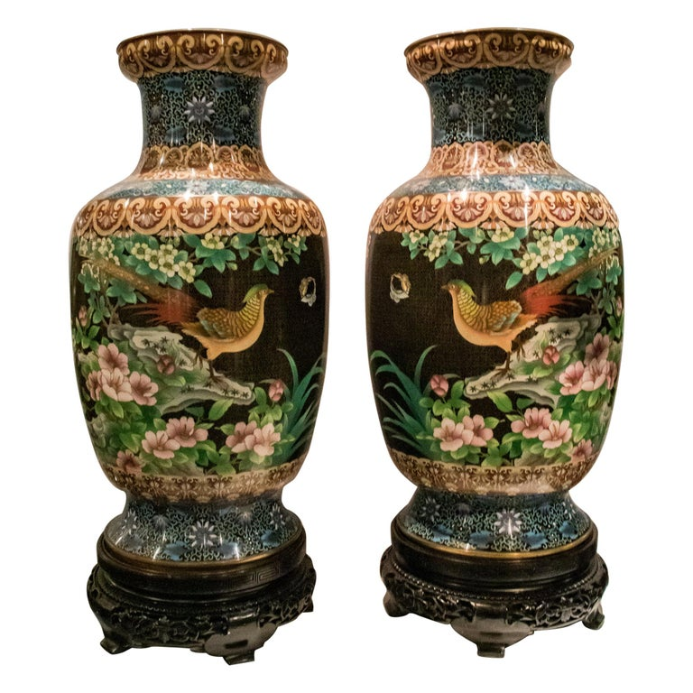 Pair of Large Chinese Cloisonne Enamel  Vases on Stand For Sale