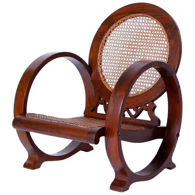 British Colonial Rosewood Caned Chair Probably Jamaican