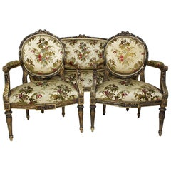 French 19th-20th Century Louis XVI Style Giltwood Carved 3-Piece Salon Suite
