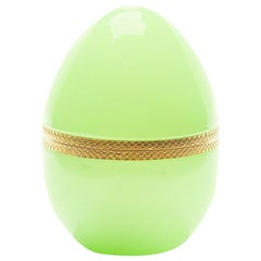 French Pale Green Opaline Glass and Brass Egg Shaped Box