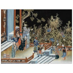 Court Concubine, after Ming Dynasty Oil Painting, Chinese Export