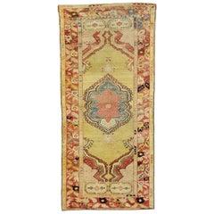 Vintage Turkish Oushak Accent Rug for Kitchen, Bathroom, Foyer or Entry