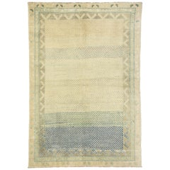 Rustic French Style Vintage Turkish Oushak Rug for Kitchen, Bathroom or Entry