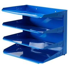 Retro Office Mail Organizer, Refinished in Blue